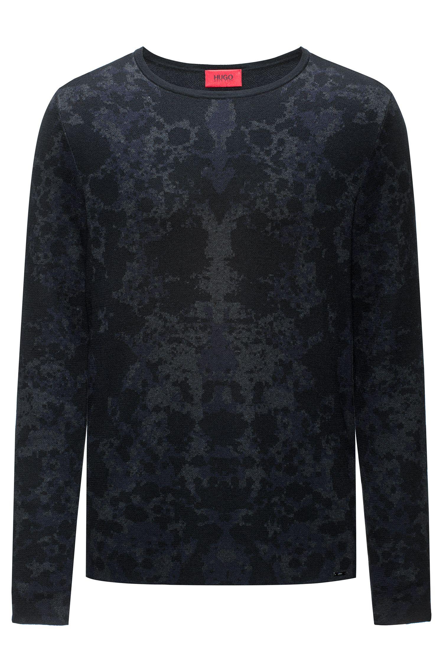 Jersey de cuello redondo en jacquard de mezcla de algodón