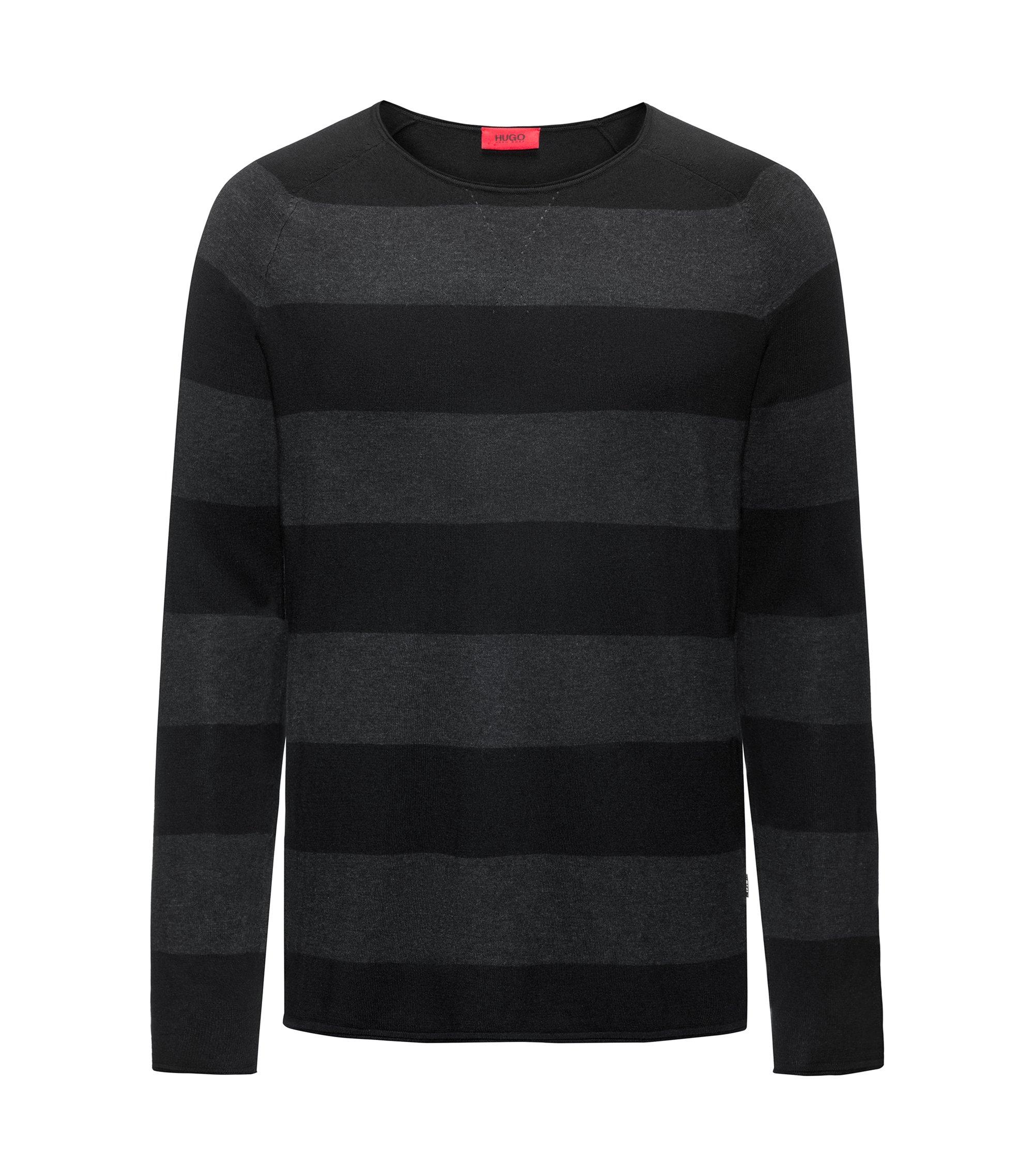 Pull à col ras-du-cou en coton mélangé à rayures larges, Noir