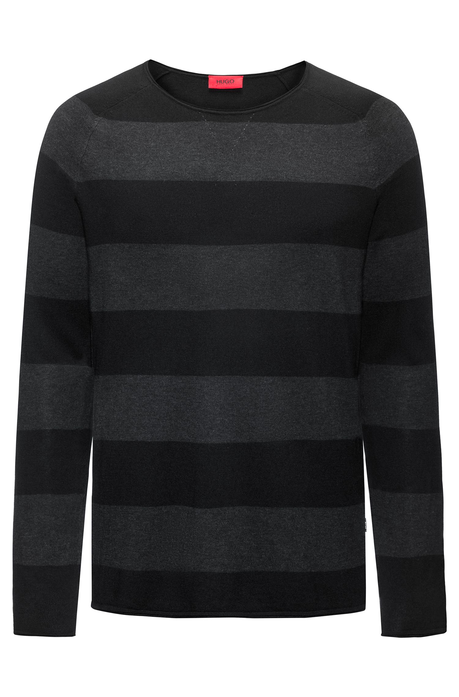 Block-stripe crew-neck sweater in a cotton blend