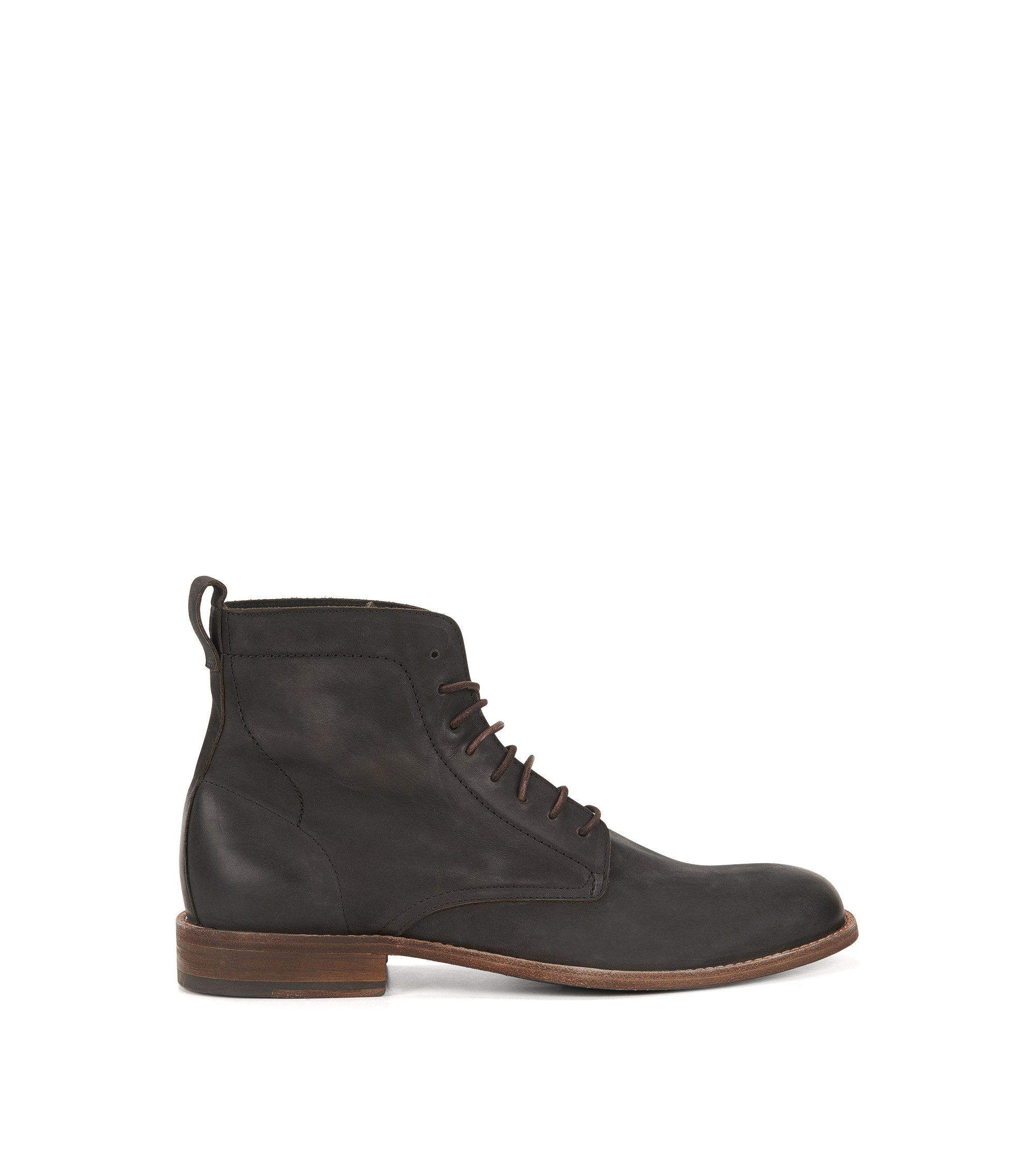 Lace-up boots in nubuck calf leather, Dark Grey