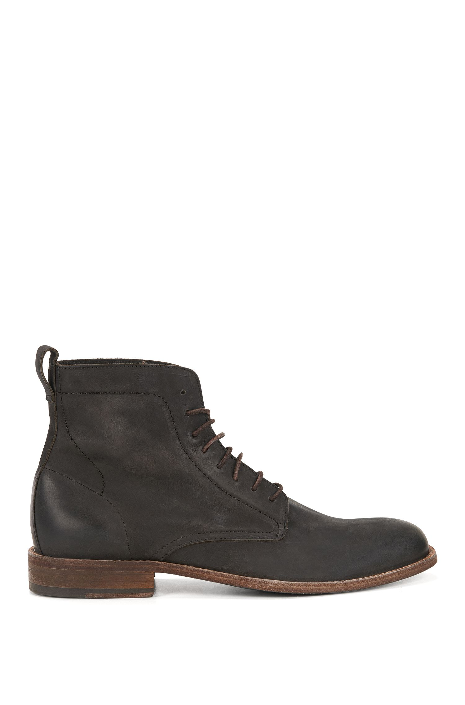Lace-up boots in nubuck calf leather