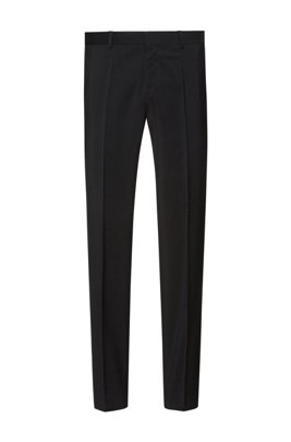 Slim-fit trousers in virgin-wool poplin, Black