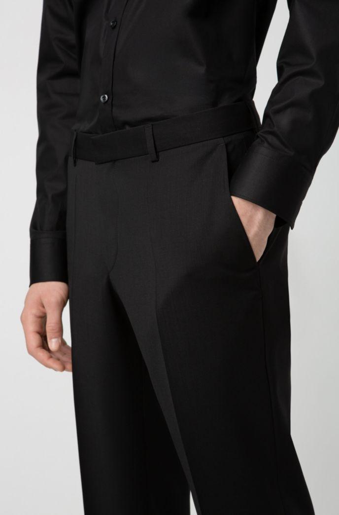 Slim-fit broek in popeline van scheerwol