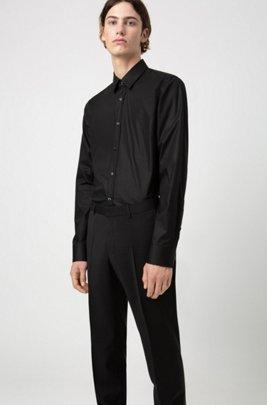 Slim-fit broek in popeline van scheerwol, Zwart