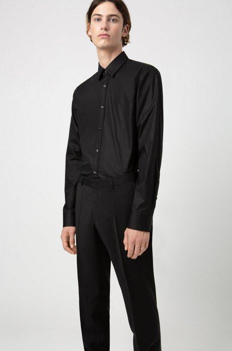 Pantalon Slim Fit en popeline de laine vierge, Noir