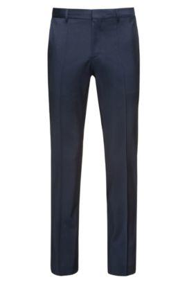 Pantaloni slim fit in lana vergine, Blu scuro