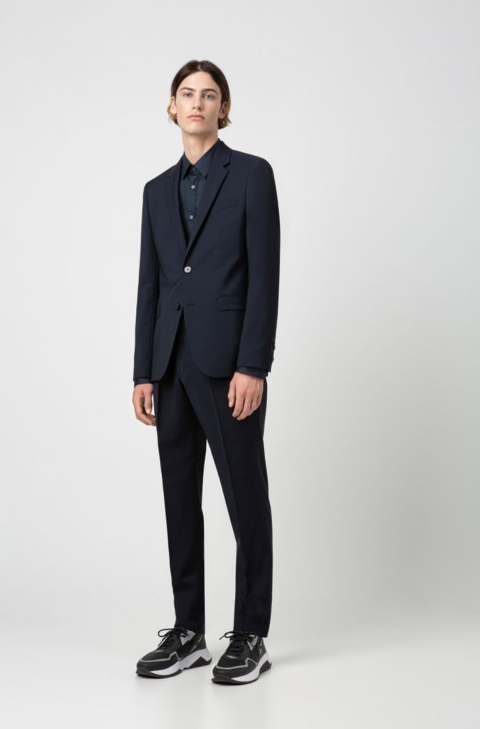 Slim-fit trousers in virgin-wool poplin