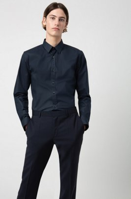 Slim-fit trousers in virgin-wool poplin, Dark Blue