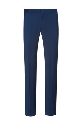 Slim-fit trousers in virgin-wool poplin, Blue