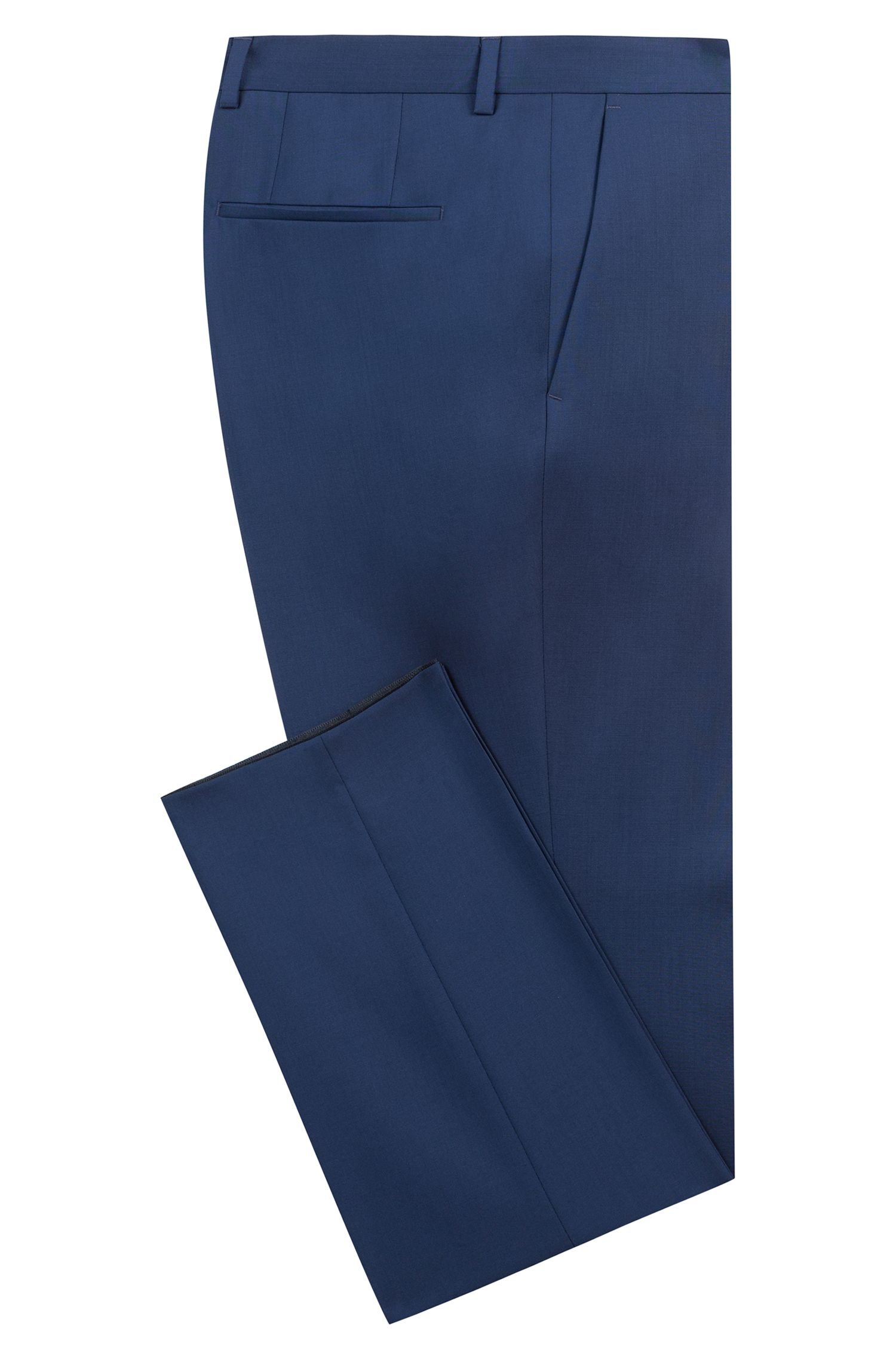 Slim-fit trousers in virgin wool, Blue