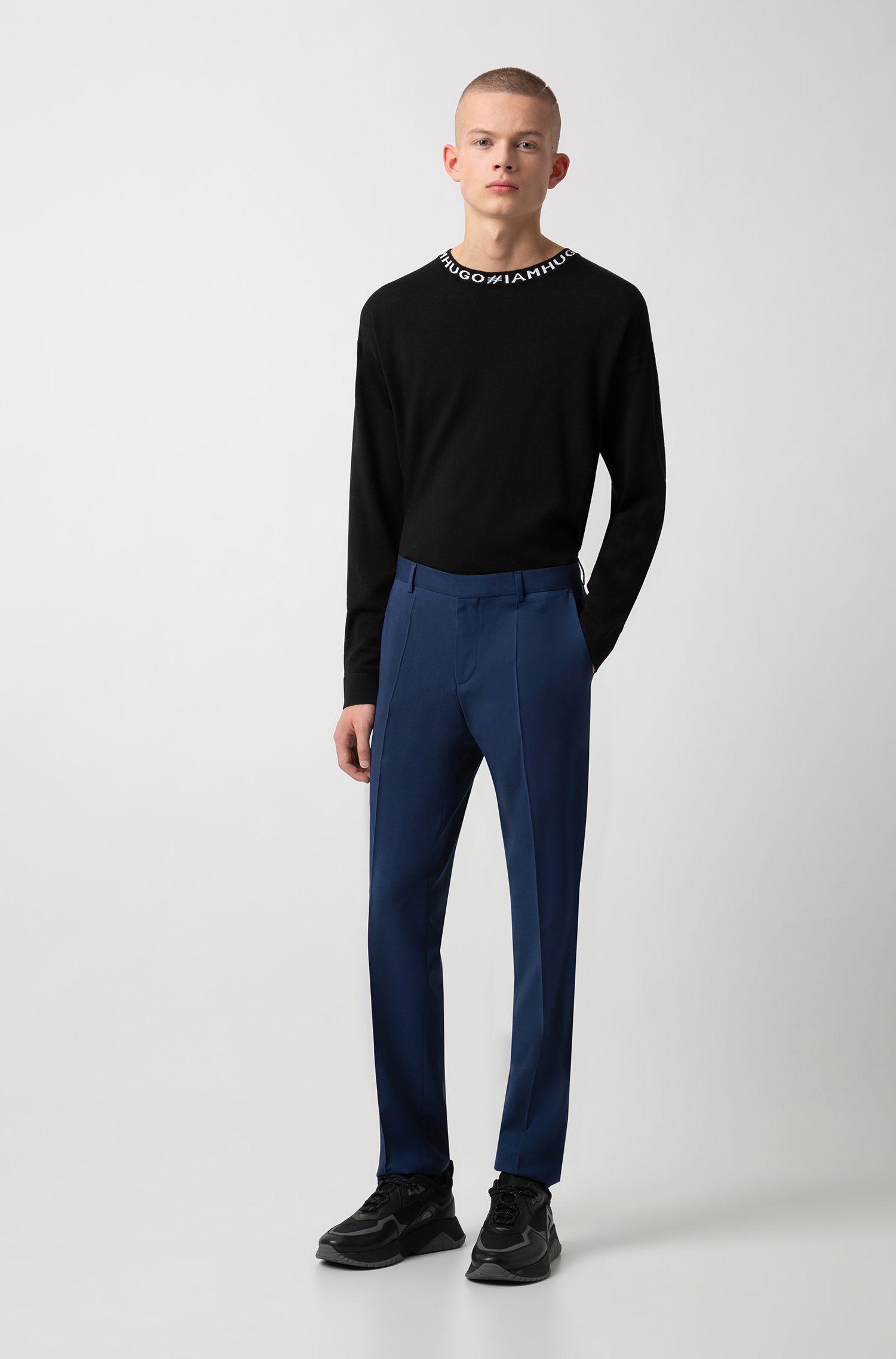 Slim-fit broek van scheerwol, Blauw