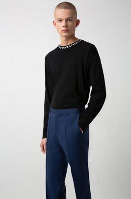 Slim-fit broek in popeline van scheerwol, Blauw