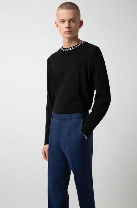 Slim-fit trousers in virgin-wool poplin, Blue