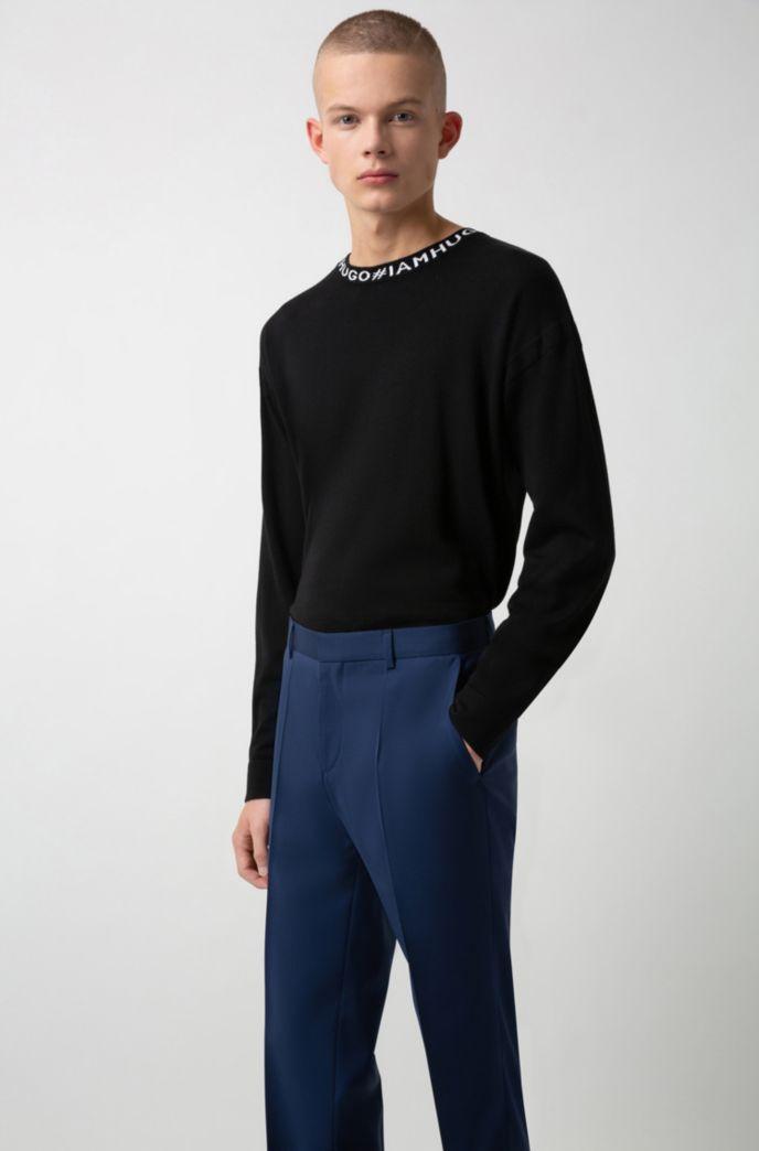 Slim-fit trousers in virgin-wool poplin