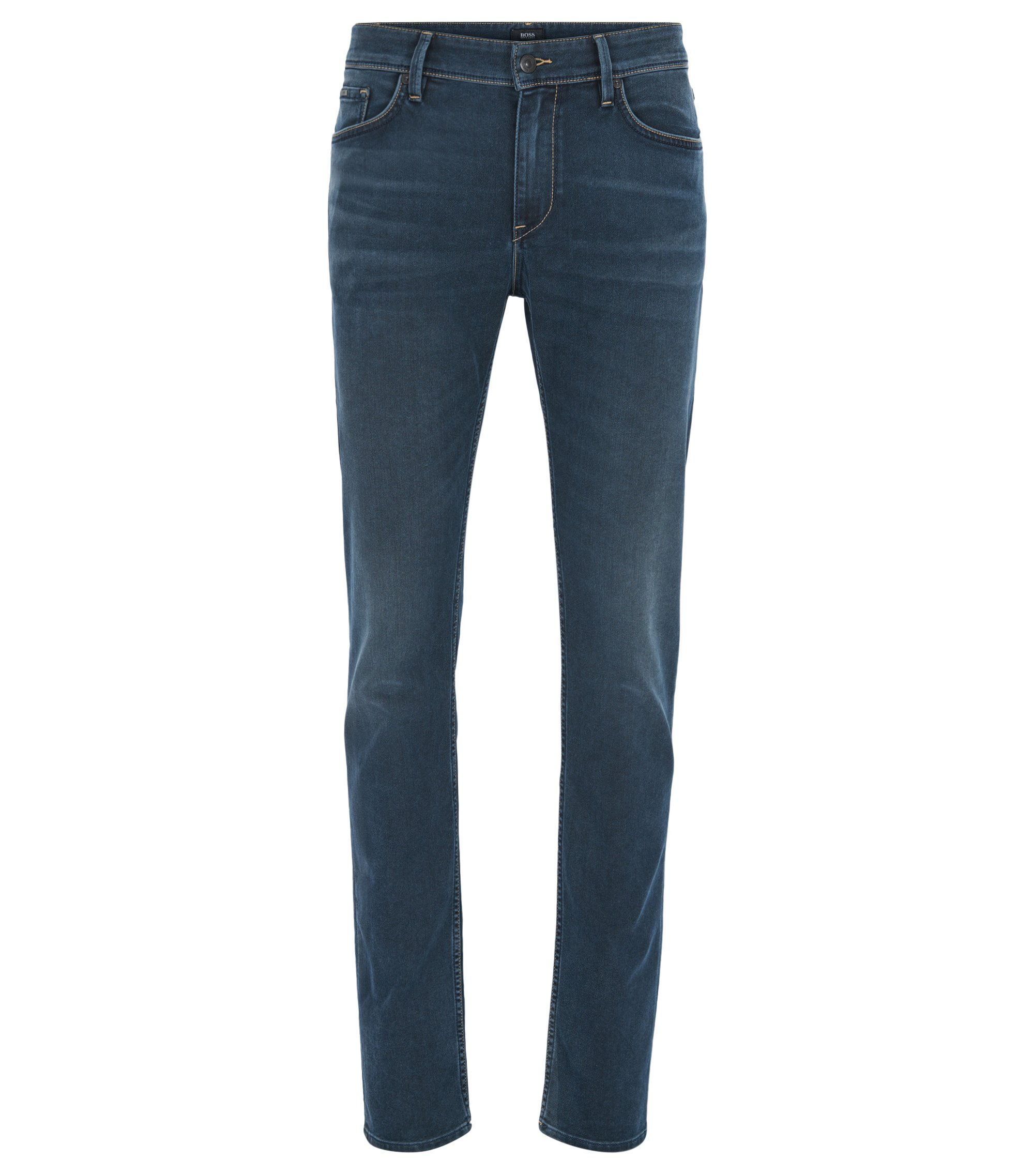 Jeans Slim Fit en denim stretch italien confortable, Bleu