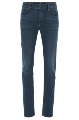 Jeans Slim Fit en denim stretch italien confortable, Bleu