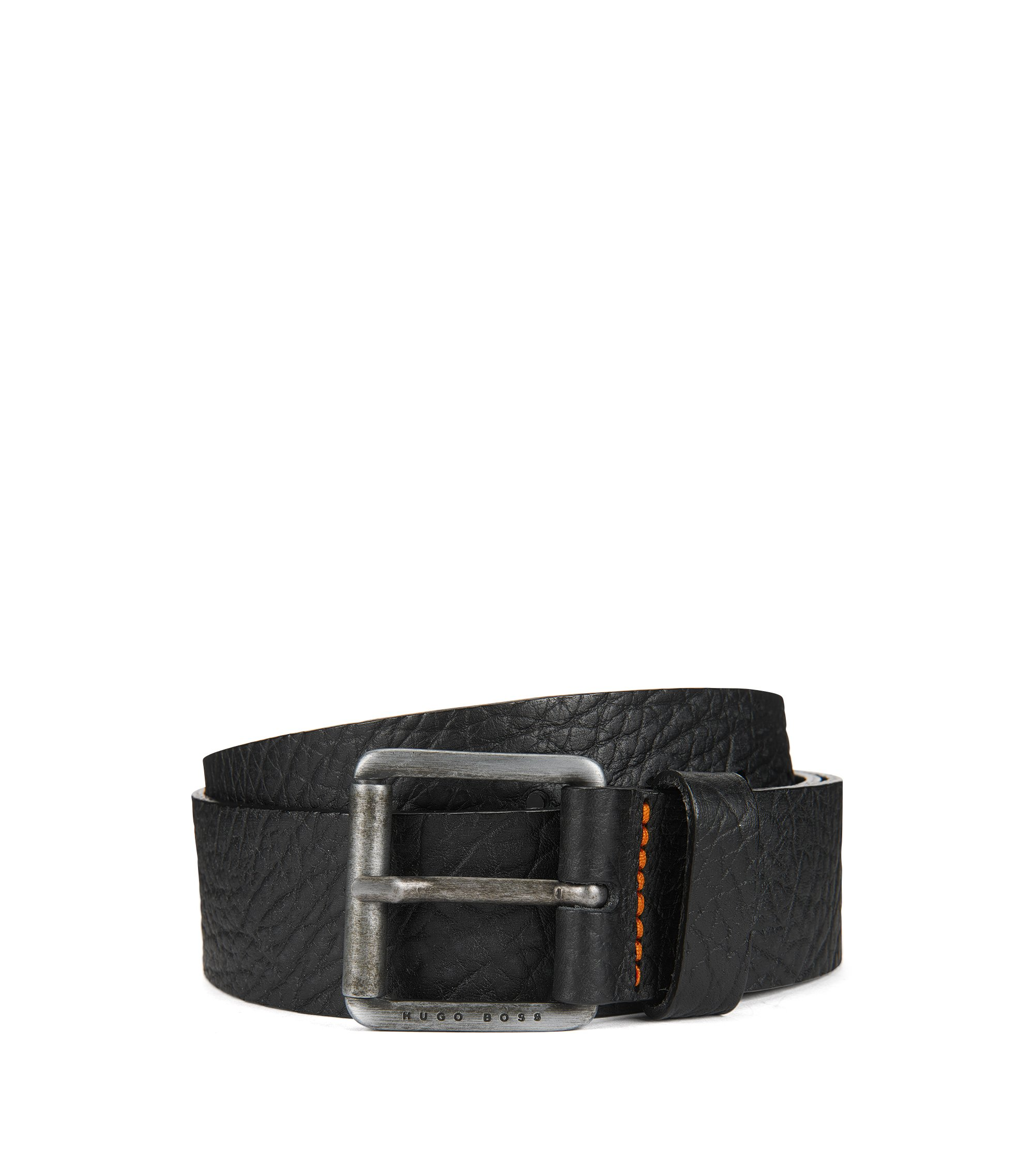 Grained-leather belt with antique-finish roller buckle, Black