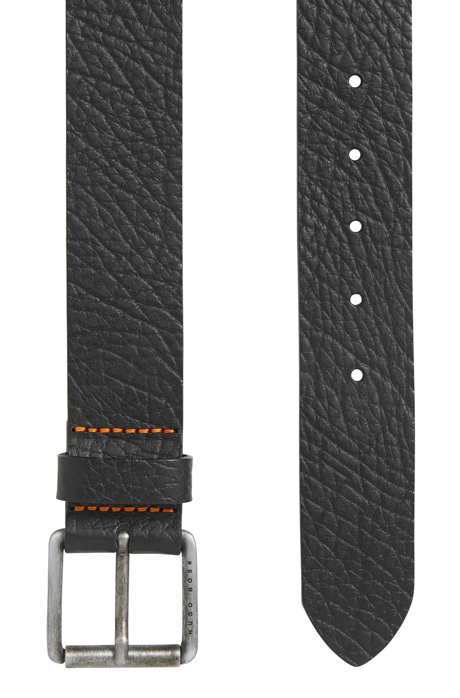 Grained-leather belt with antique-finish roller buckle