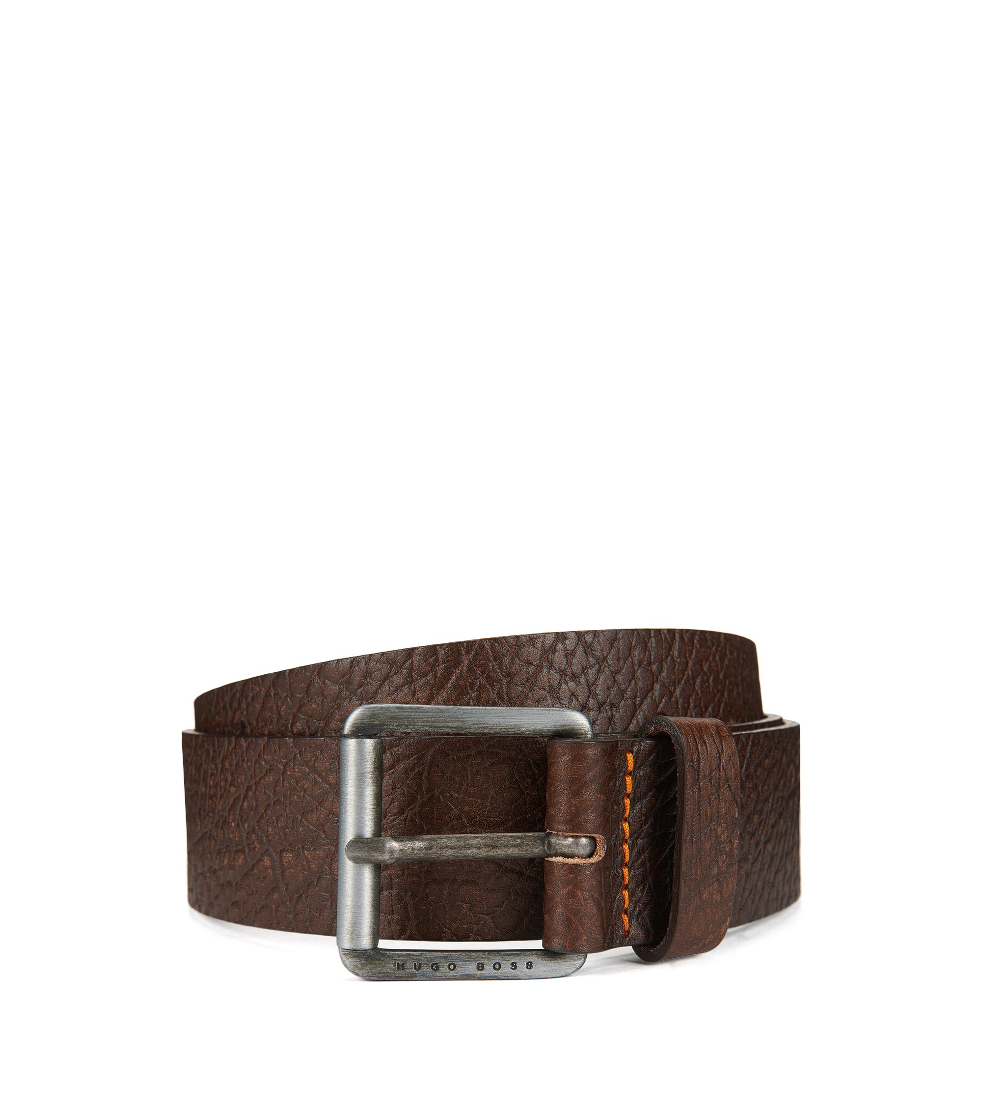 Grained-leather belt with antique-finish roller buckle, Dark Brown