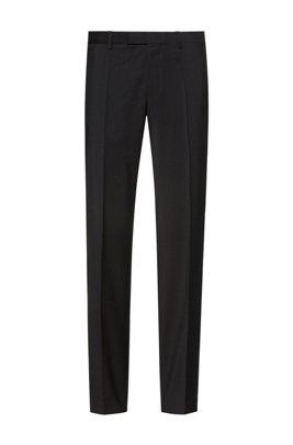 Regular-fit broek van scheerwol met natuurlijke stretch, Zwart
