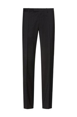 Regular-Fit Hose aus natürlich elastischer Schurwolle, Schwarz
