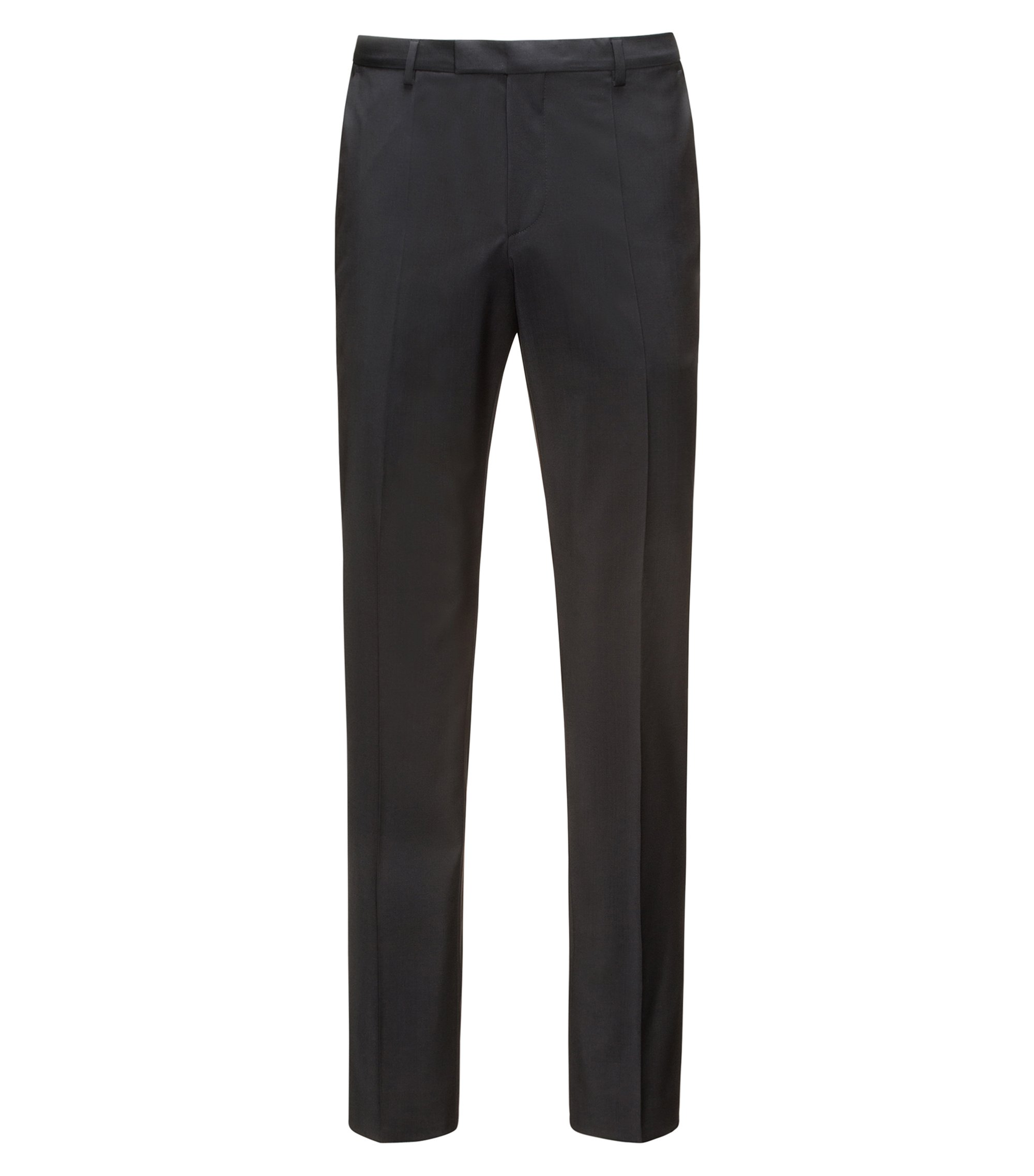 Pantalones regular fit en lana virgen , Negro
