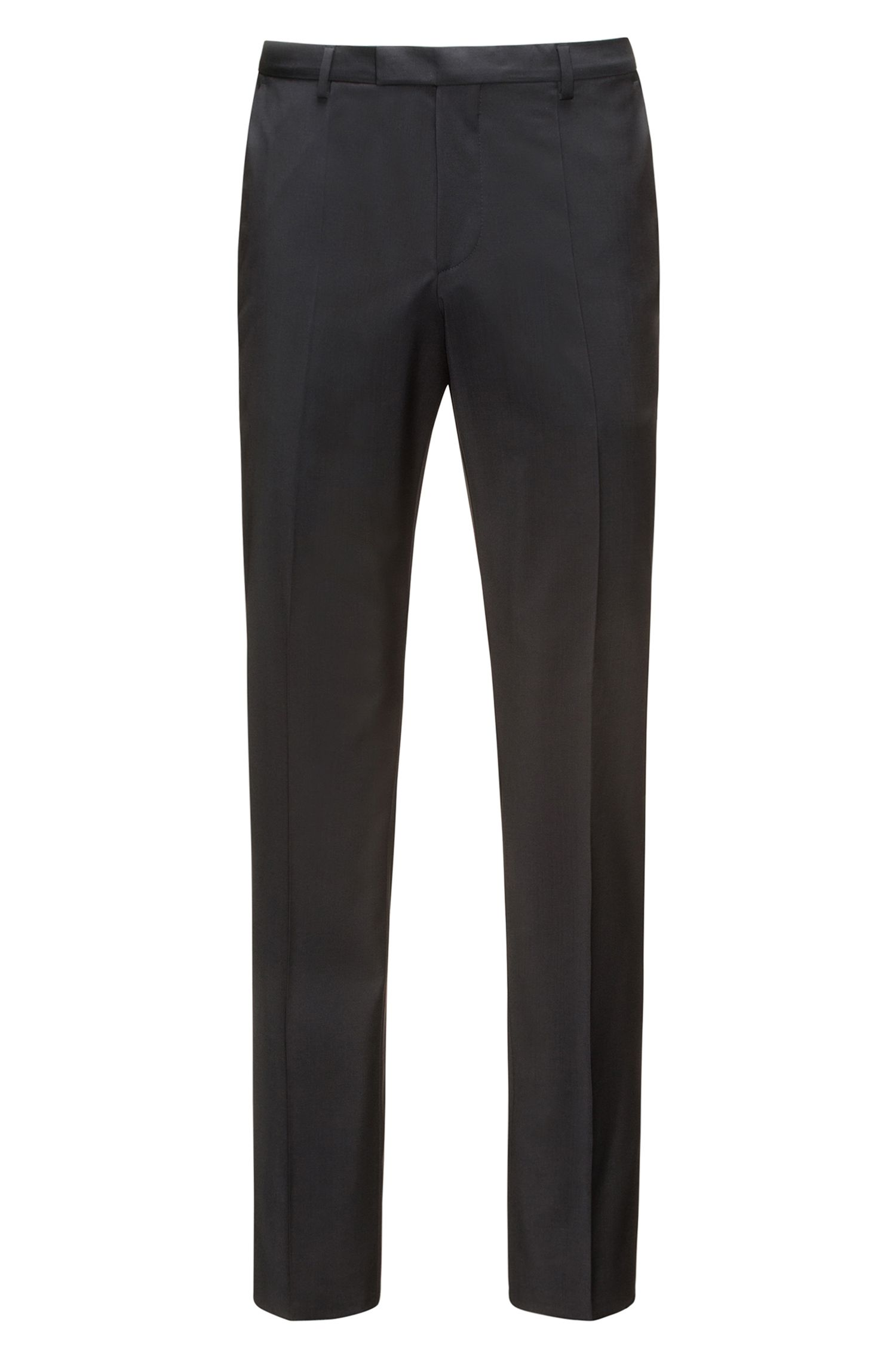 Regular-fit trousers in virgin wool , Black