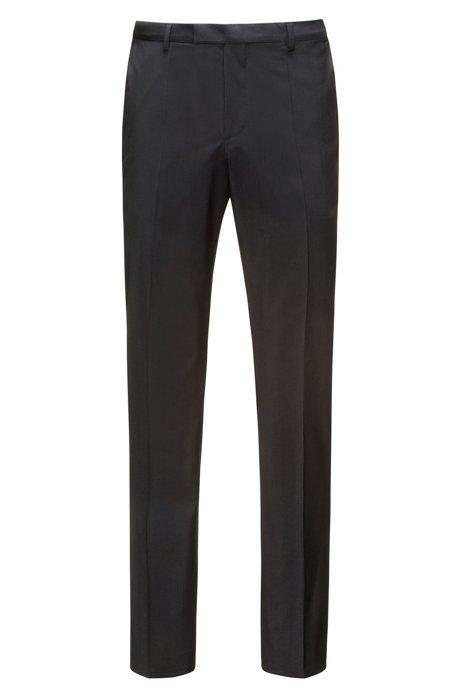 Pantalones regular fit en popelín de lana virgen, Negro