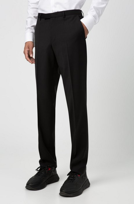 Regular-fit trousers in virgin wool with natural stretch, Black