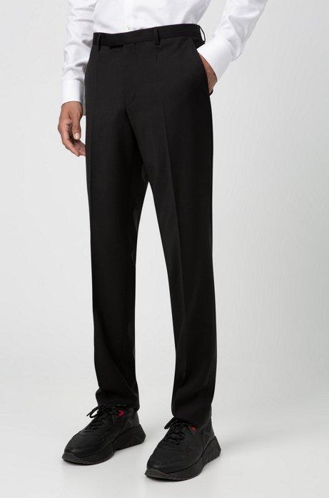 Regular-fit trousers in virgin-wool poplin, Black