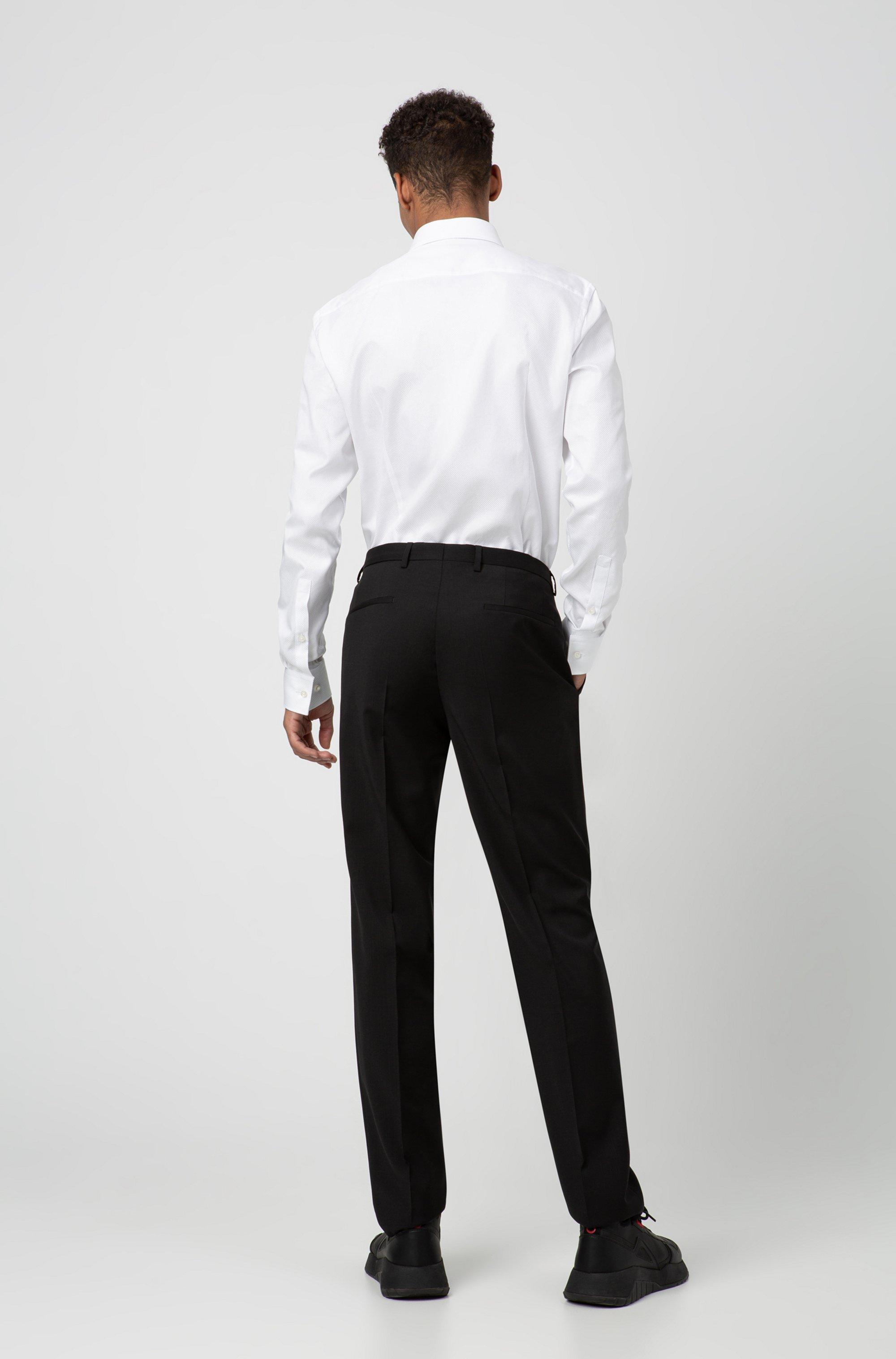 Regular-fit broek van scheerwol met natuurlijke stretch
