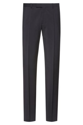 Pantalon Regular Fit en popeline de laine vierge, Gris sombre