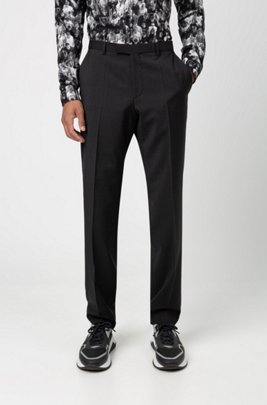 Regular-fit trousers in virgin wool with natural stretch, Dark Grey