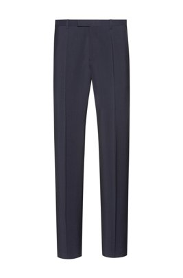 Regular-fit trousers in virgin wool with natural stretch, Dark Blue