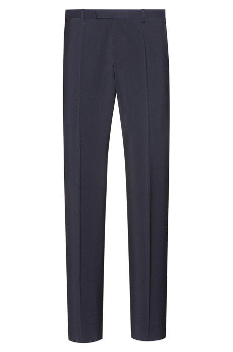 Pantalon Regular Fit en popeline de laine vierge, Bleu foncé