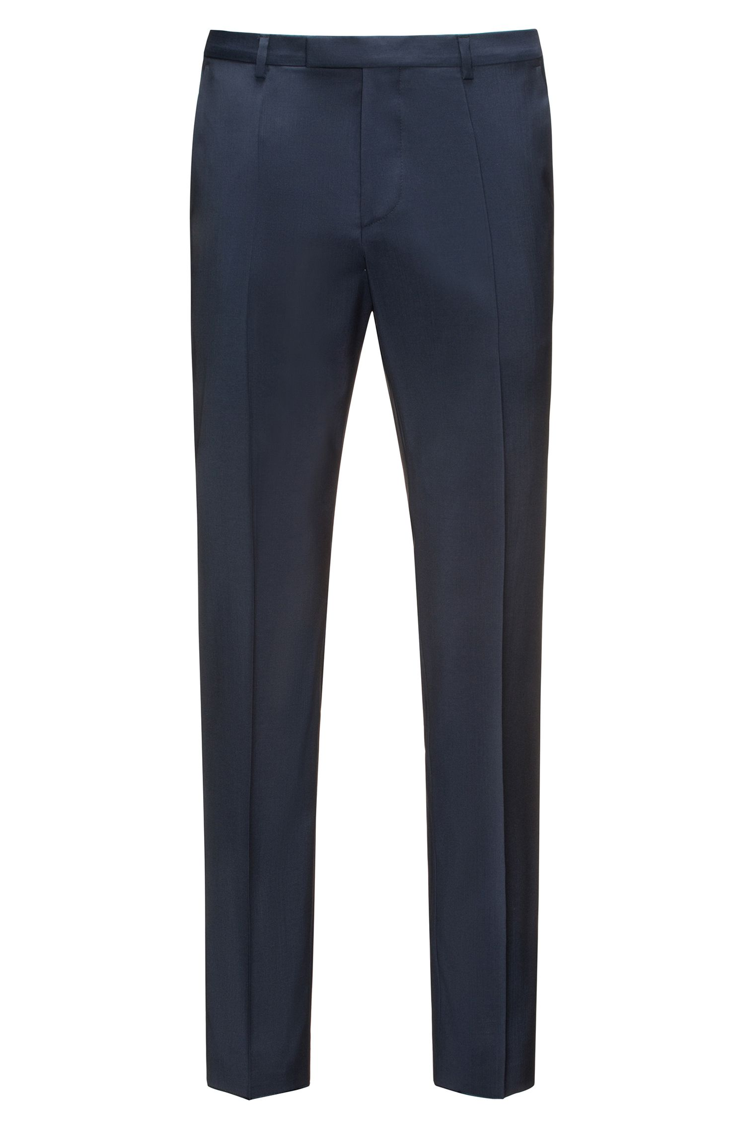 Pantaloni regular fit in lana vergine , Blu scuro