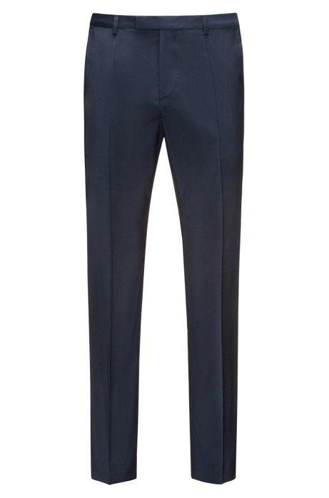 Pantalones regular fit en popelín de lana virgen, Azul oscuro