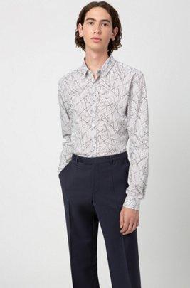 Regular-fit broek van scheerwol met natuurlijke stretch, Donkerblauw