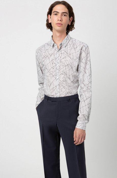 Regular-fit trousers in virgin-wool poplin, Dark Blue