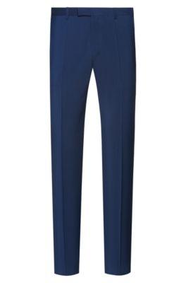 Pantalones regular fit en popelín de lana virgen, Azul