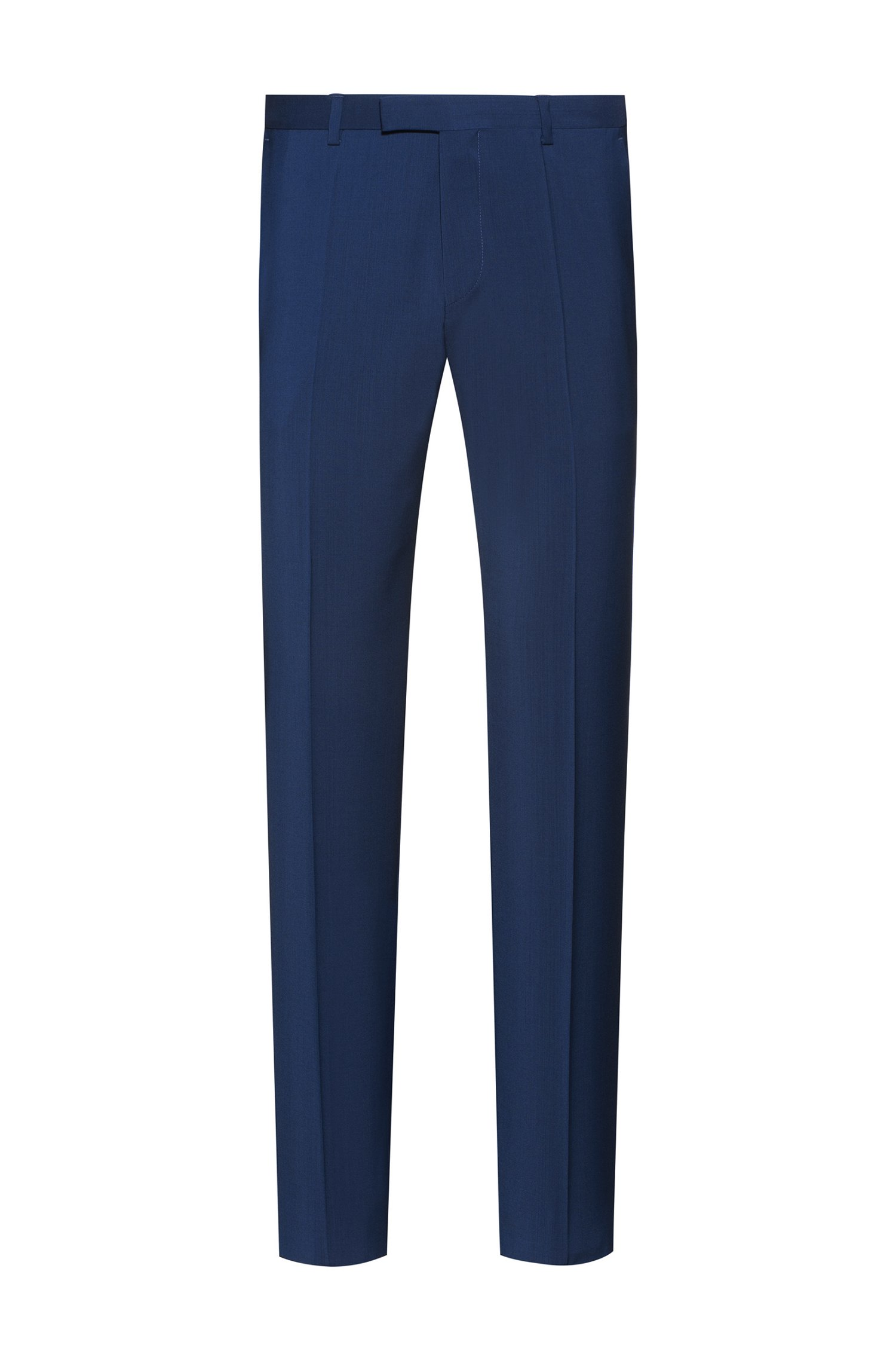 Regular-fit trousers in virgin wool with natural stretch, Blue