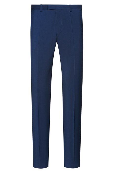 Regular-Fit Hose aus Schurwoll-Popeline, Blau