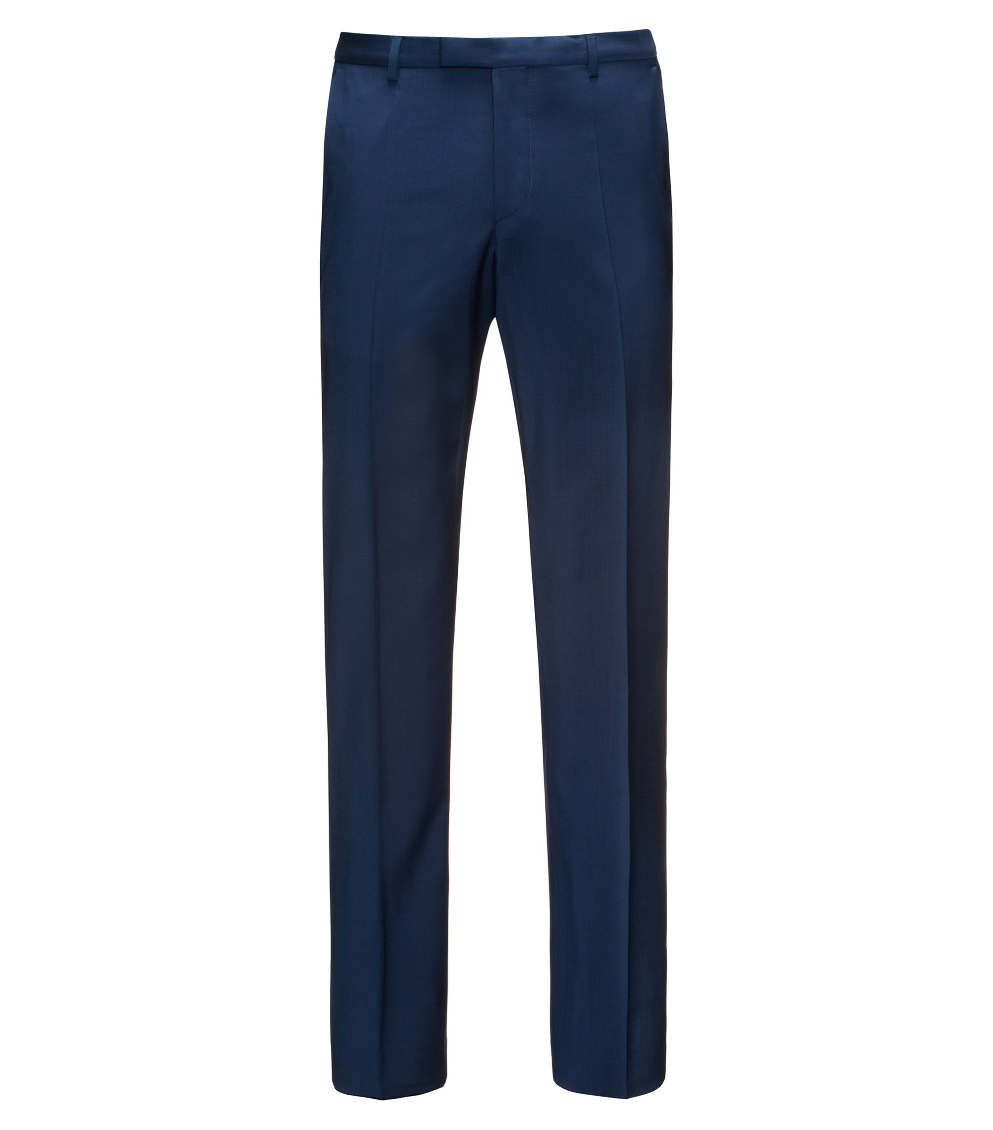 Pantaloni regular fit in lana vergine , Blu