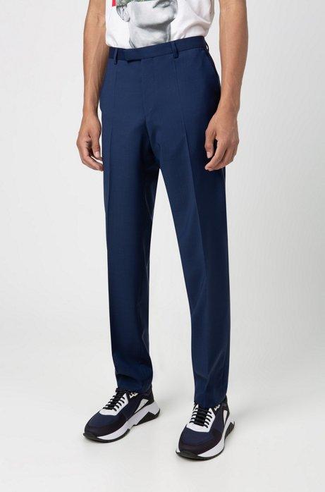 Regular-fit trousers in virgin-wool poplin, Blue