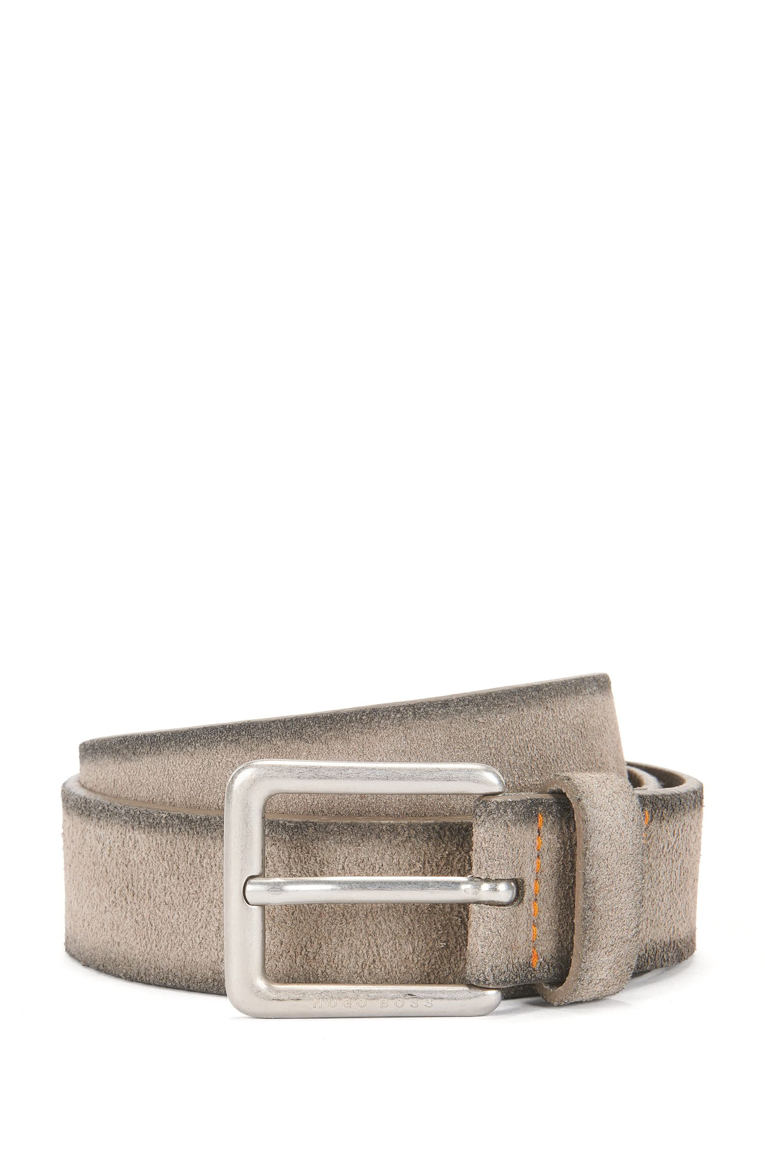 Casual belt in washed suede with antique-effect buckle