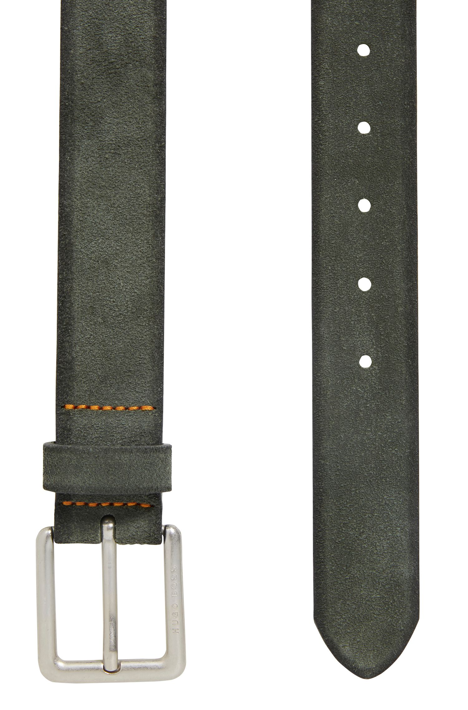 Casual belt in washed suede with antique-effect buckle, Dark Green