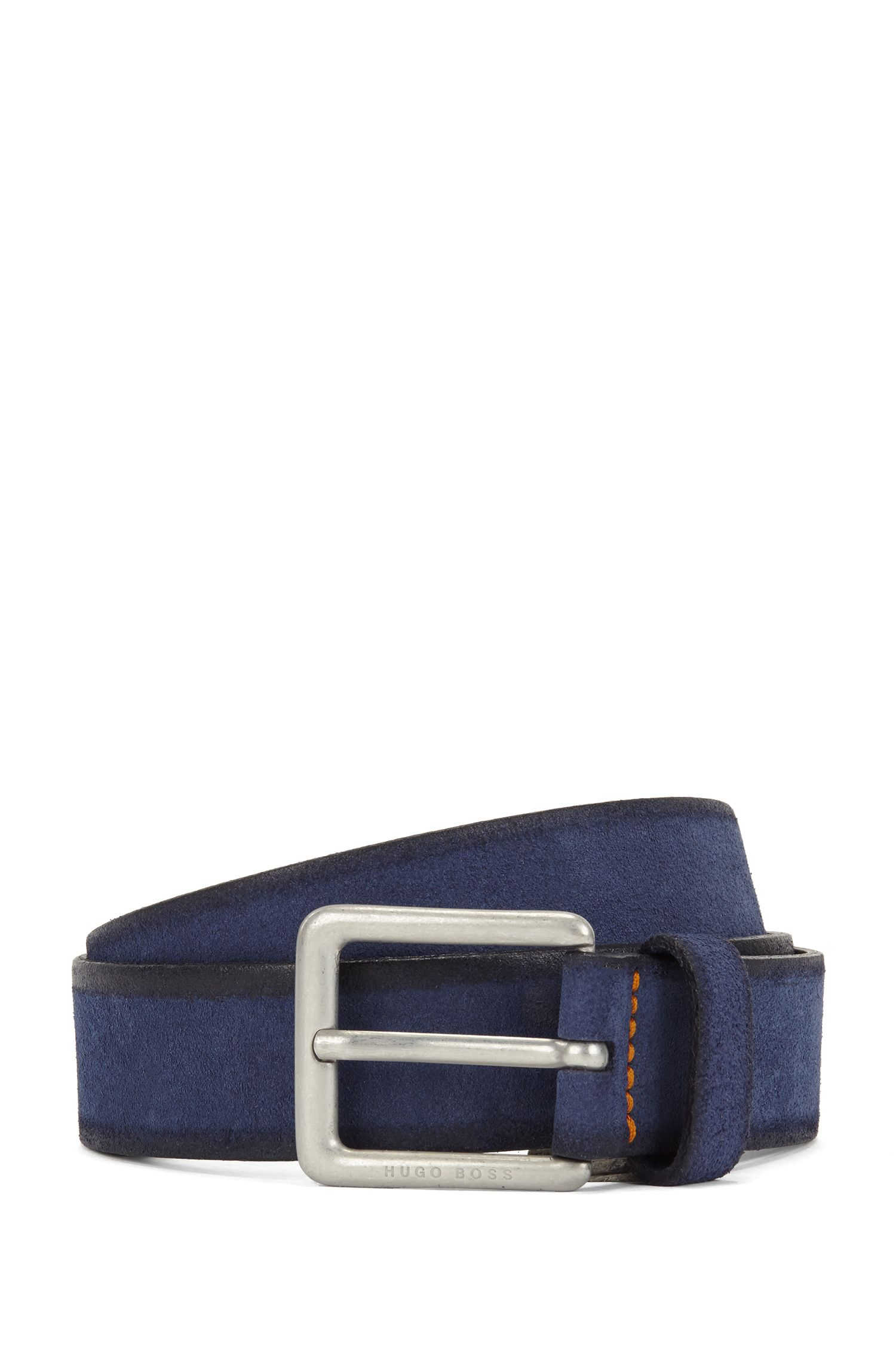 Casual belt in washed suede with antique-effect buckle, Dark Blue