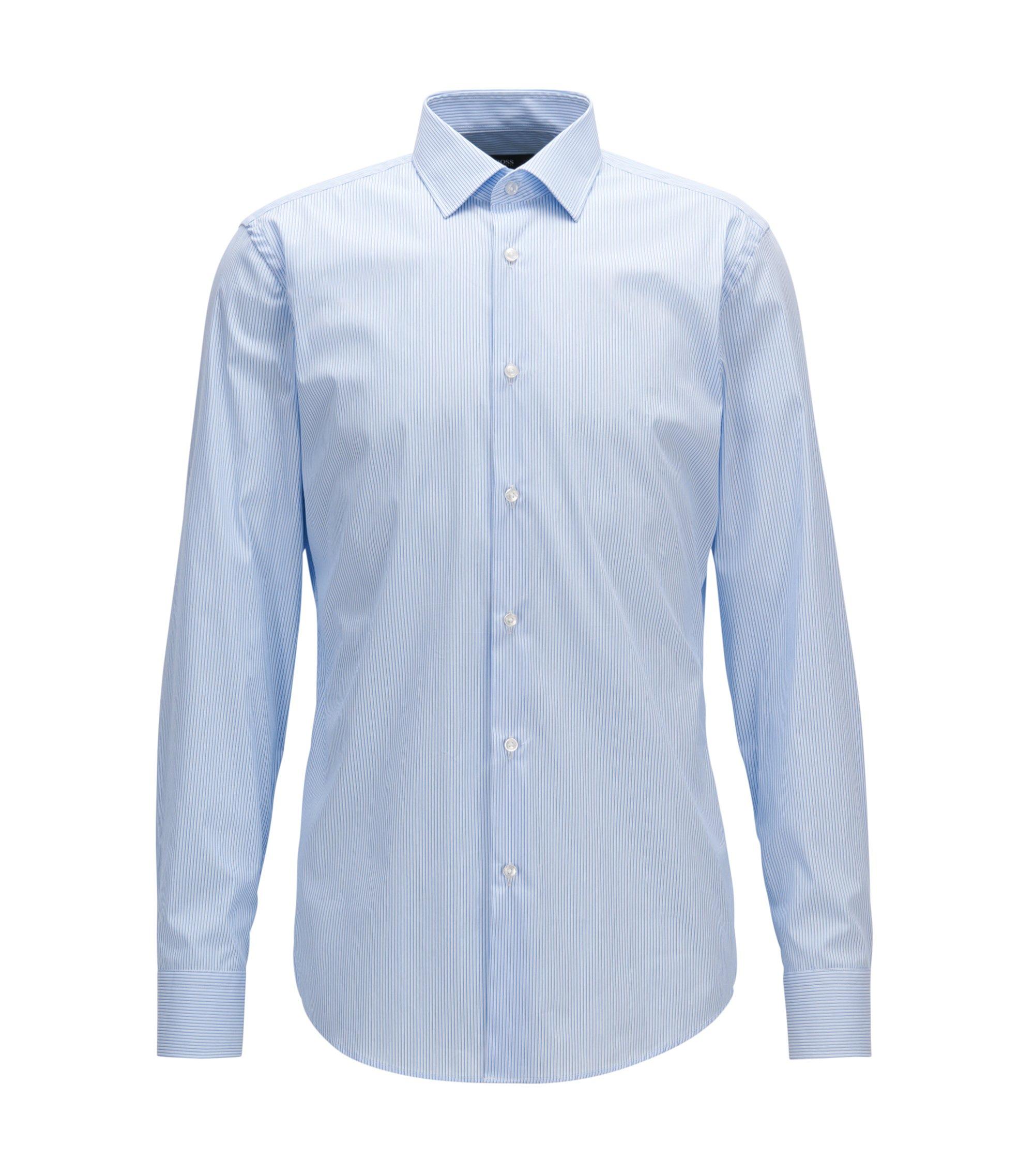 Slim-fit overhemd van een katoenmix, Lichtblauw