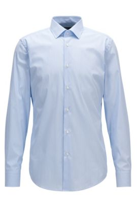 Cotton-blend shirt in a slim fit, Light Blue