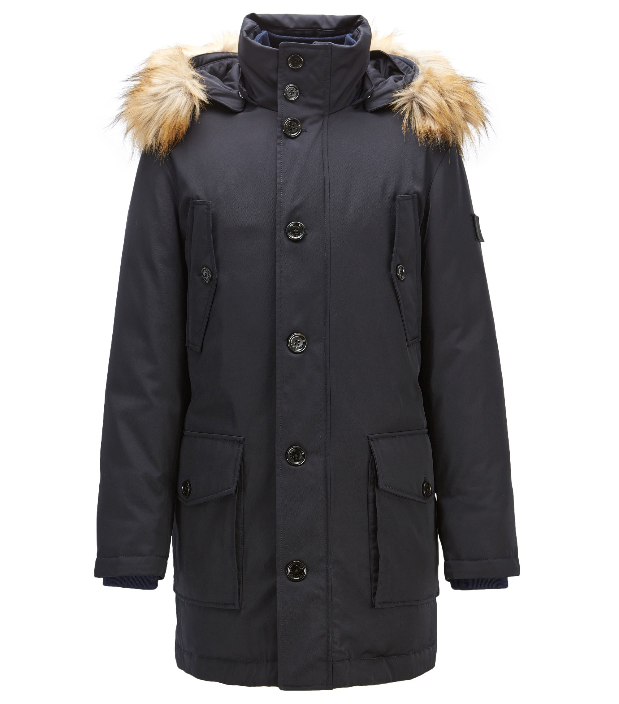Parka regular fit in twill tecnico, Blu scuro